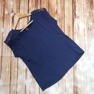 Atmosphere Blue Blouse T-Shirt Top Crochet Navy Casual Work Office